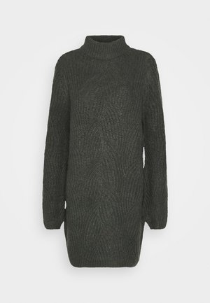 NMEDEN HIGH NECK DRESS  - Jumper dress - dark grey melange