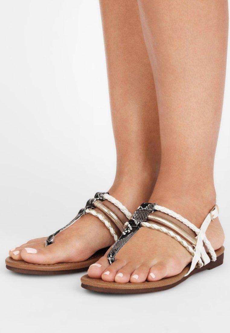 LASCANA - T-bar sandals - gold-colored camel-cream