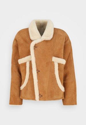 ROYAL - Leather jacket - ocre