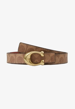 SCULPTED COATED REVERSIBLE SIGNATURE BELT - Pasek - tan/rust