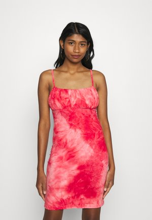 MINI DRESS WITH GATHERED BUST PANEL LOW BACK AND ROULEA - Sukienka z dżerseju - coral pink