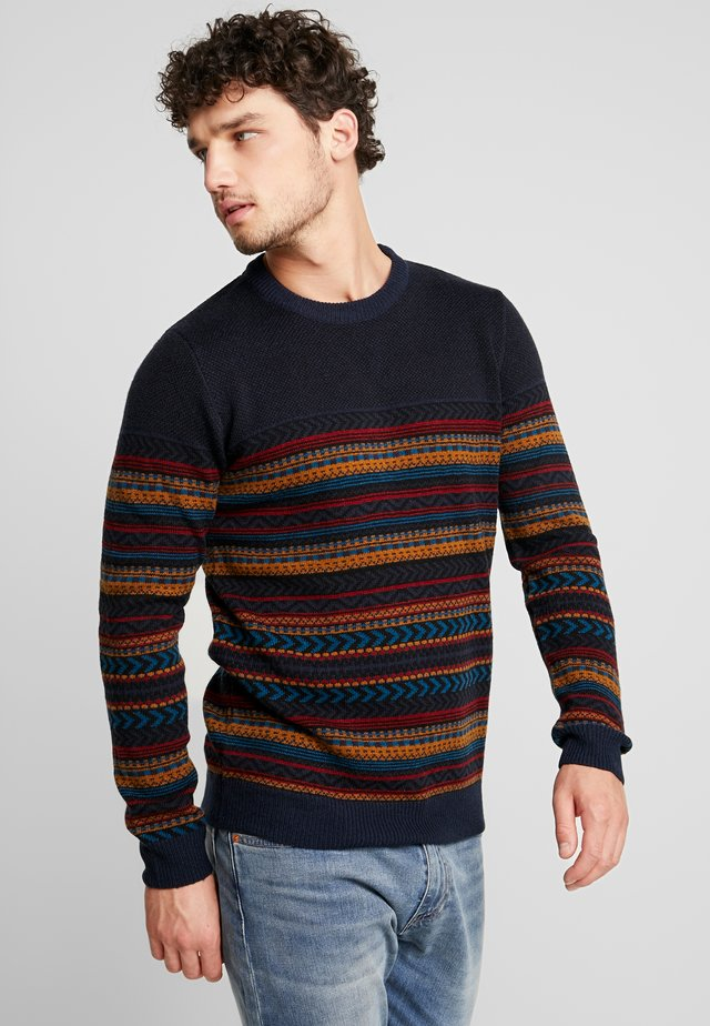 JACQUARD KNIT - Jumper - navy