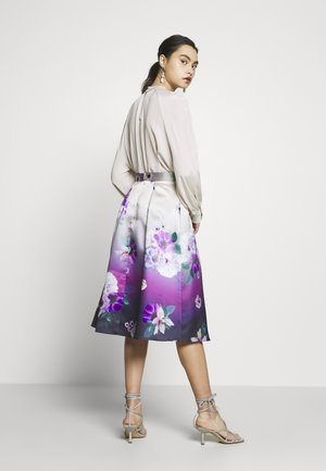 LUXE OMBRE FLORAL MIDI SKIRT - Jupe trapèze - navy