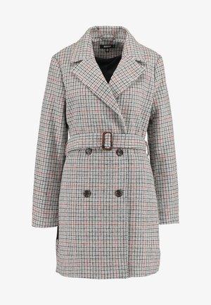 BELTED CHECK COAT - Short coat - multi
