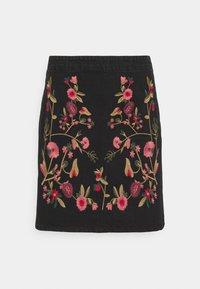 Vila - VIWOODY FESTIVAL SKIRT - Minihame - black/flower embroidery - 3