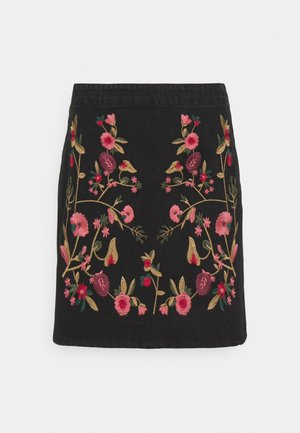 VIWOODY FESTIVAL SKIRT - Mini skirt - black/flower embroidery