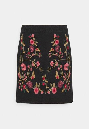 VIWOODY FESTIVAL SKIRT - Mini skirt - black/flower embroidery
