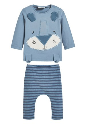 BLUE ANIMAL APPLIQUé STRETCH T-SHIRT AND LEGGINGS SET (0MTHS-3Y - Leggings - blue
