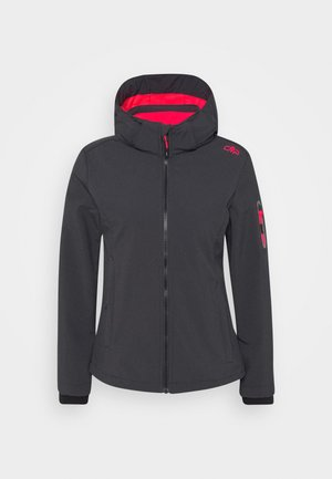 WOMAN JACKET ZIP HOOD - Soft shell jacket - antracite/red fluor