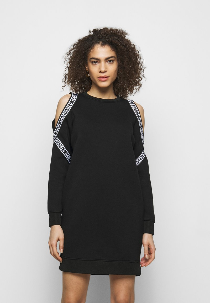 KARL LAGERFELD - COLD SHOULDER DRESS - Denní šaty - black