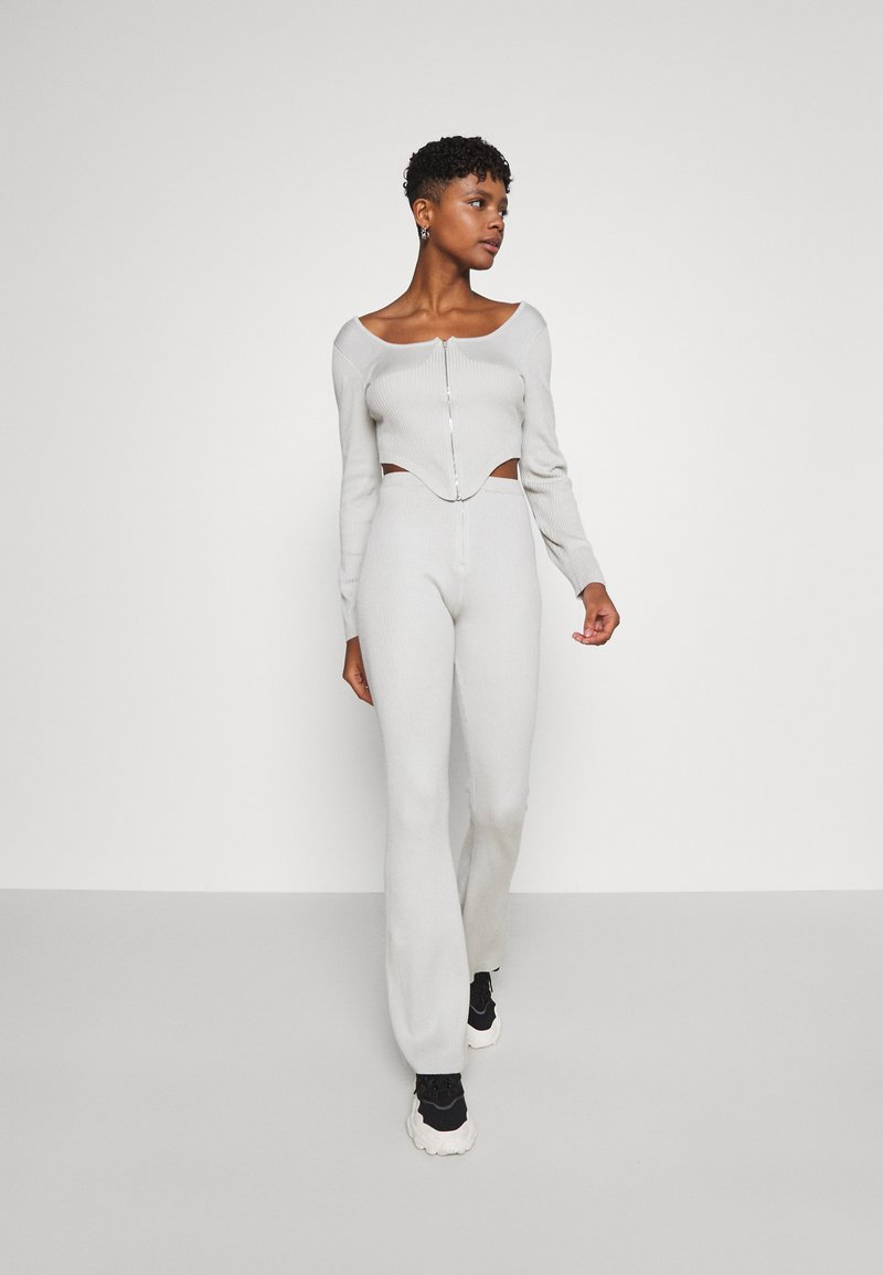 Missguided - ZIP FRONT CORSET AND FLARE SET - Cardigan - sage