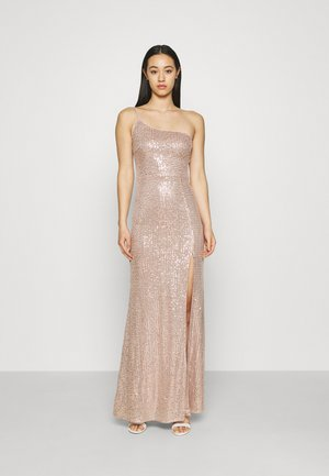 ONE SHOULDER SEQUIN GOWN - Vestido de fiesta - dusty pink
