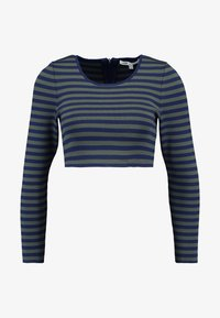 Good American - LONG SLEEVE STRIPE CROP - Topper langermet - dark blue - 7