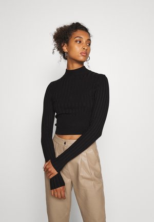 CROPPED WIDE RIB - Strickpullover - black