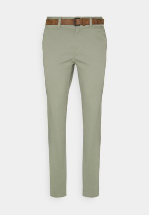 WITH BELT - Chino - greyish shadow olive