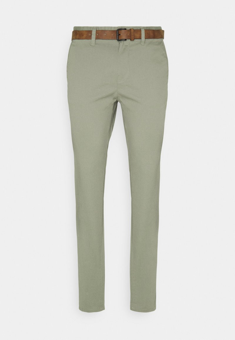 TOM TAILOR DENIM - WITH BELT - Chinos - greyish shadow olive