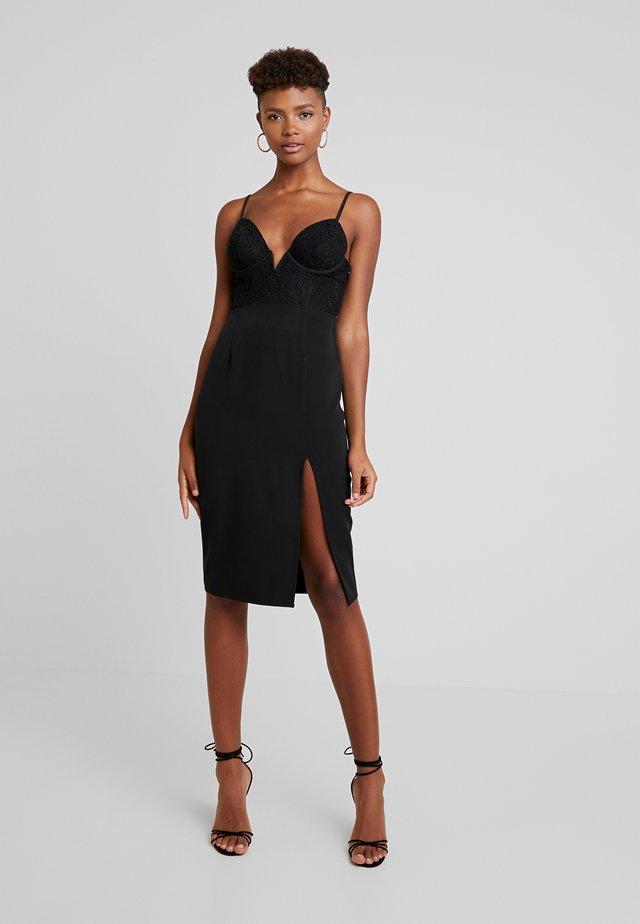 PORTER CUPPED MIDI DRESS WITH SIDE SPLIT - Koktejlové šaty/ šaty na párty - black