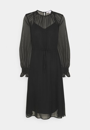 FIT AND FLARE MIDII DRESS - Day dress - black