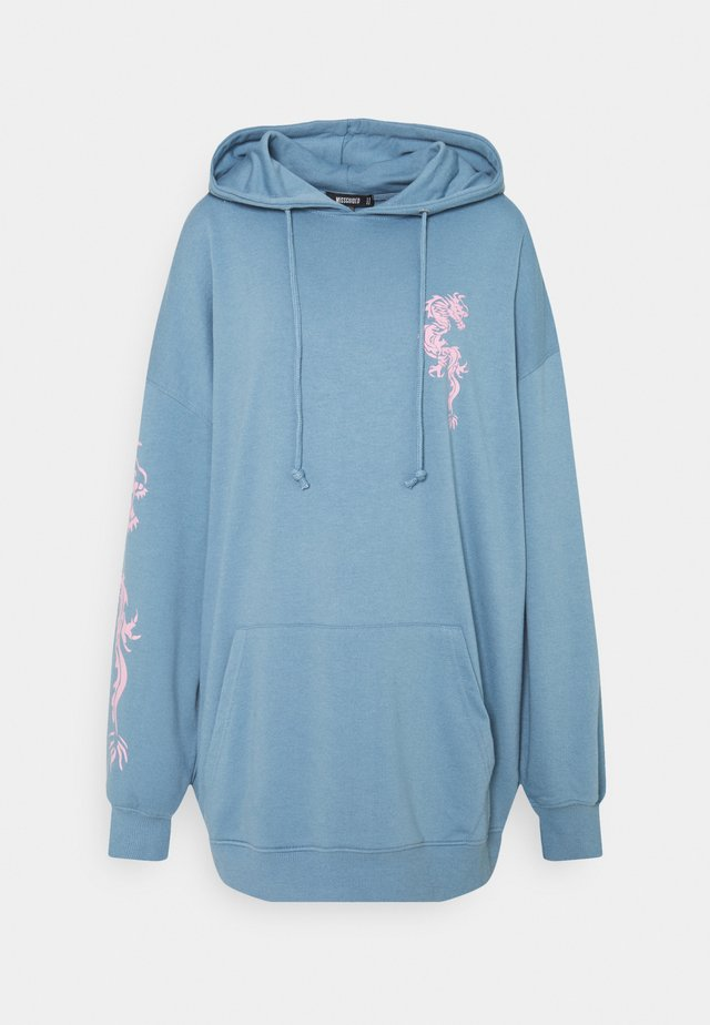 DRAGON GRAPHIC HOODIE DRESS - Day dress - blue