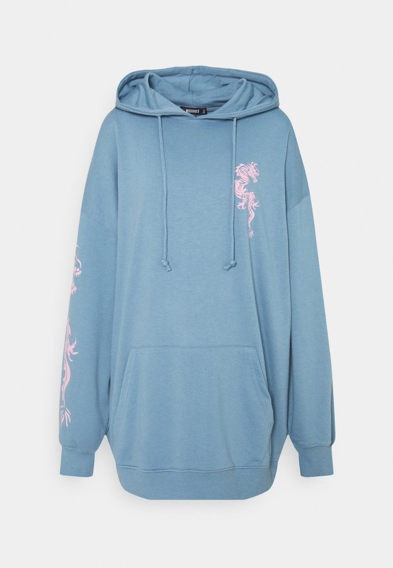 Missguided - DRAGON GRAPHIC HOODIE DRESS - Denní šaty - blue