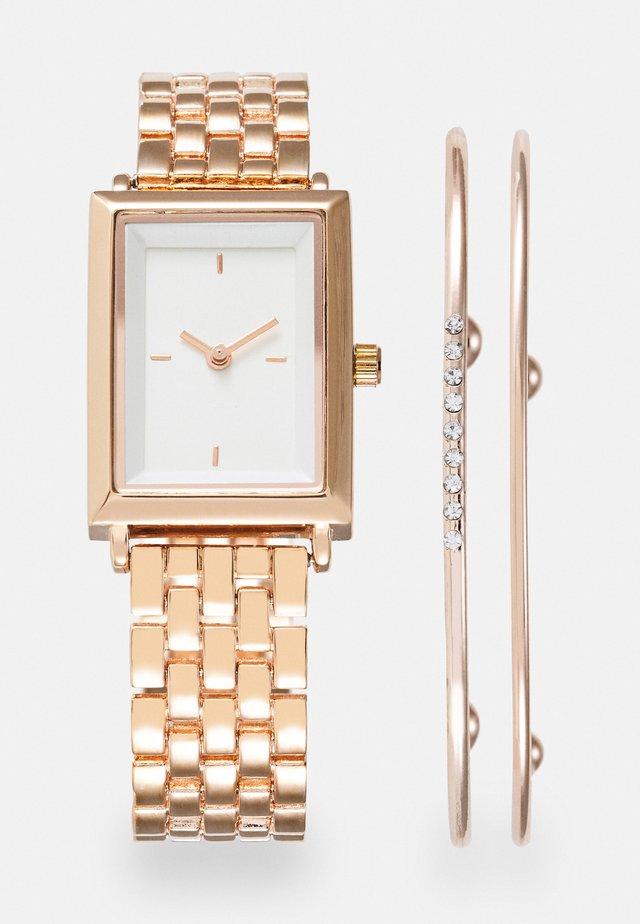 SET - Klocka - rose gold-coloured/white
