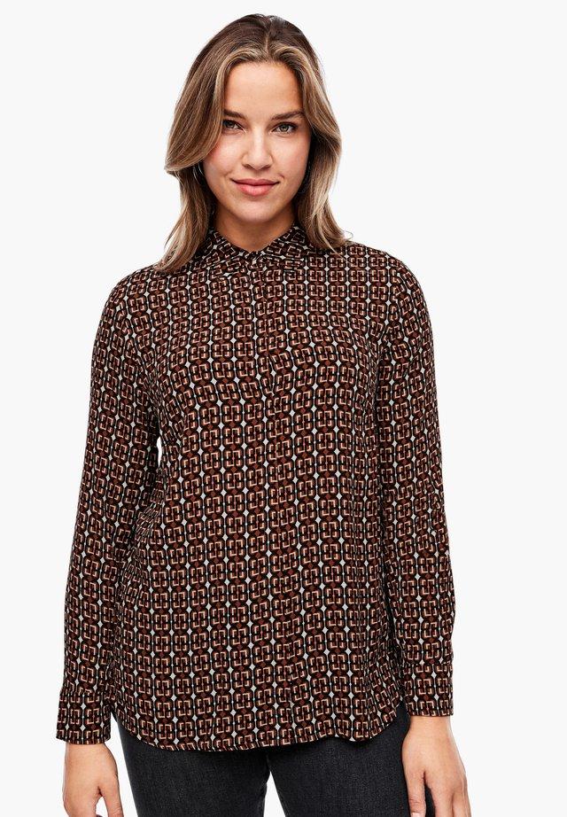 Button-down blouse - brown chain print