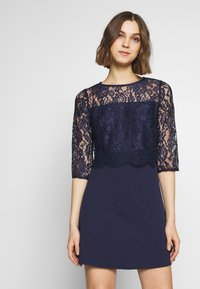 Dorothy Perkins - SCALLOPED DETAIL SKATER - Shift dress - navy - 0