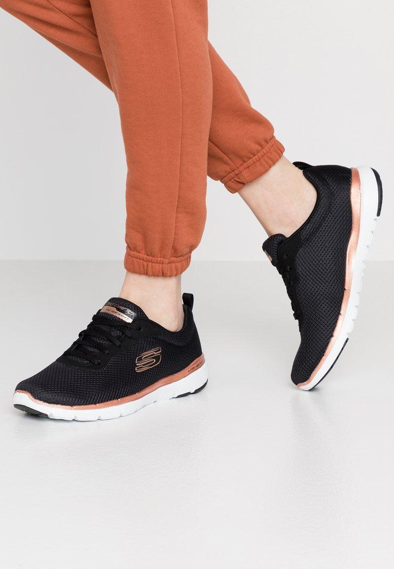 Skechers Wide Fit - WIDE FIT FLEX APPEAL 3.0 - Trainers - black/rose gold