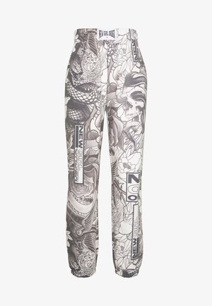 FLORAL TATOO PRINT  - Tracksuit bottoms - grey