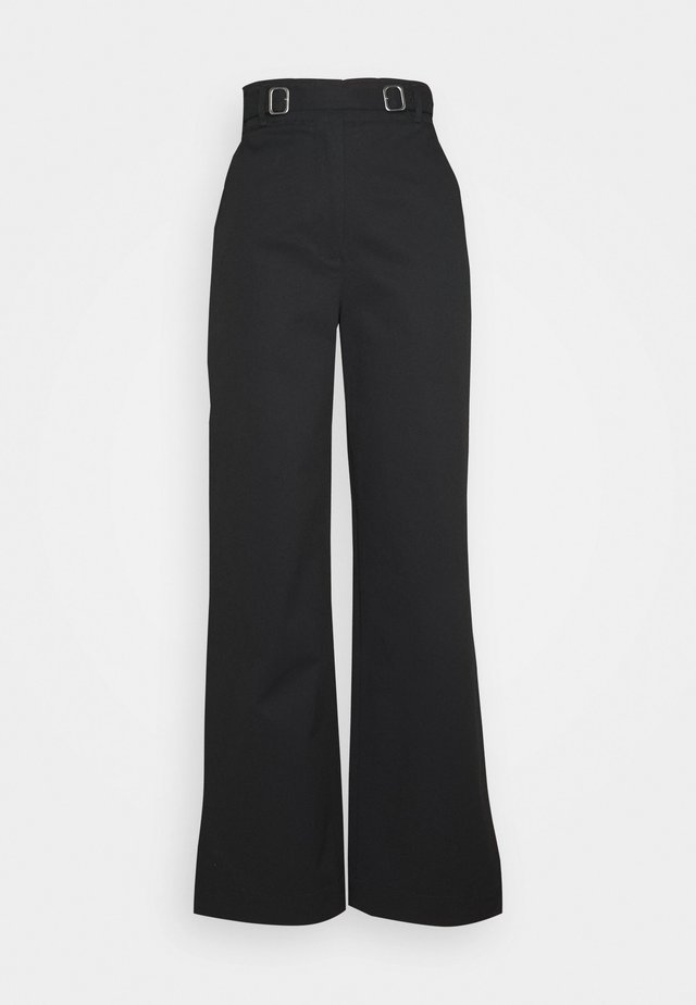 BELTED PANT - Trousers - black