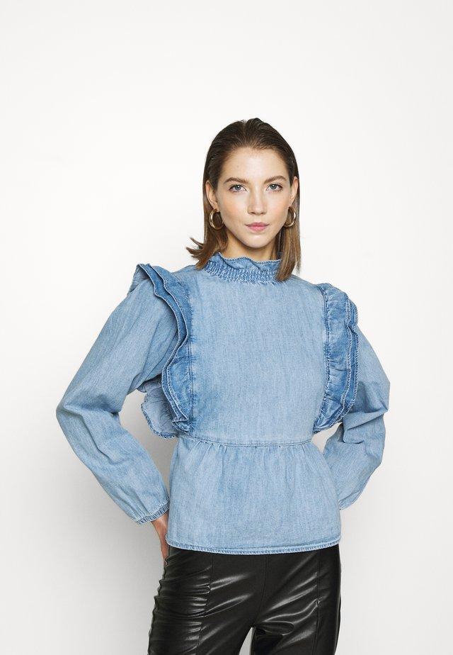 FRILL ZAHARA - Bluzka z długim rękawem - mid blue