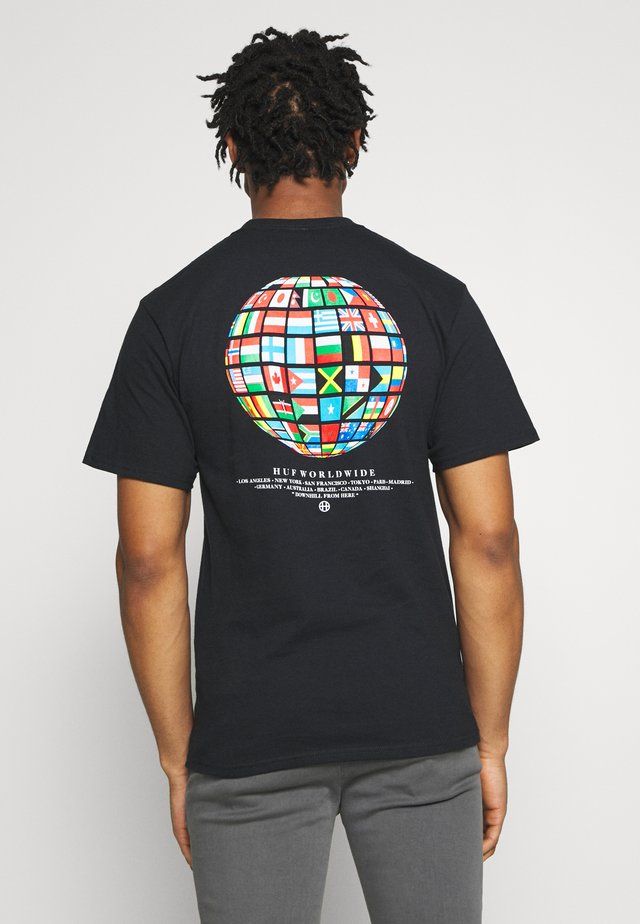 GLOBAL WAVE TEE - T-shirts med print - black