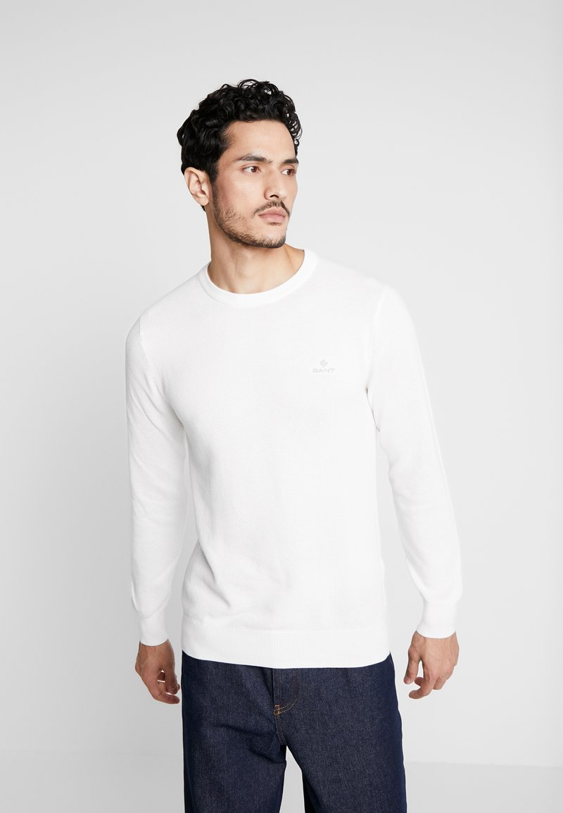 GANT - C NECK - Stickad tröja - eggshell