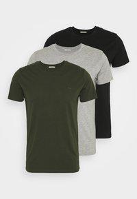 LTB - 3 Pack - Basic T-shirt - black/ olive/ grey melange - 0
