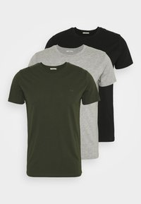 3 Pack - Basic T-shirt - black/ olive/ grey melange