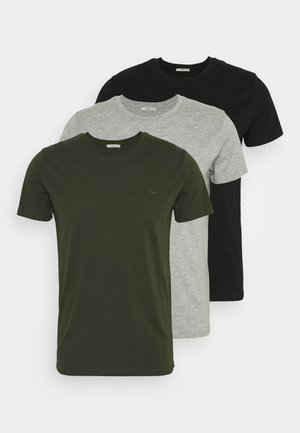 3 Pack - T-shirt basic - black/ olive/ grey melange