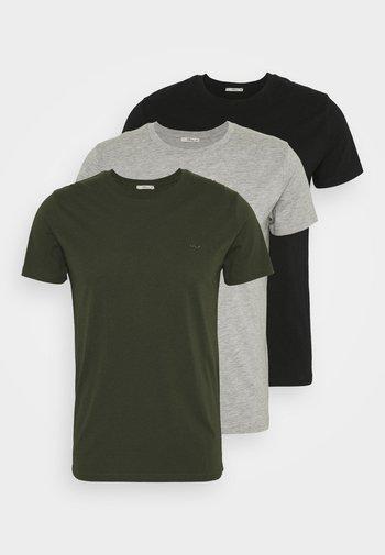 3 Pack - T-paita - black/ olive/ grey melange
