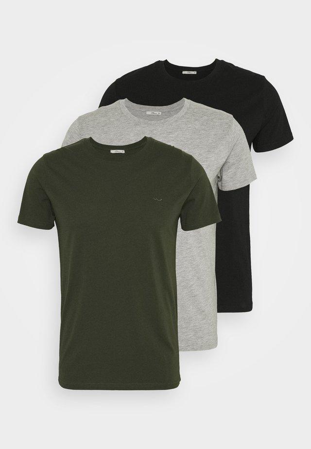 3 Pack - Basic T-shirt - black/ olive/ grey melange