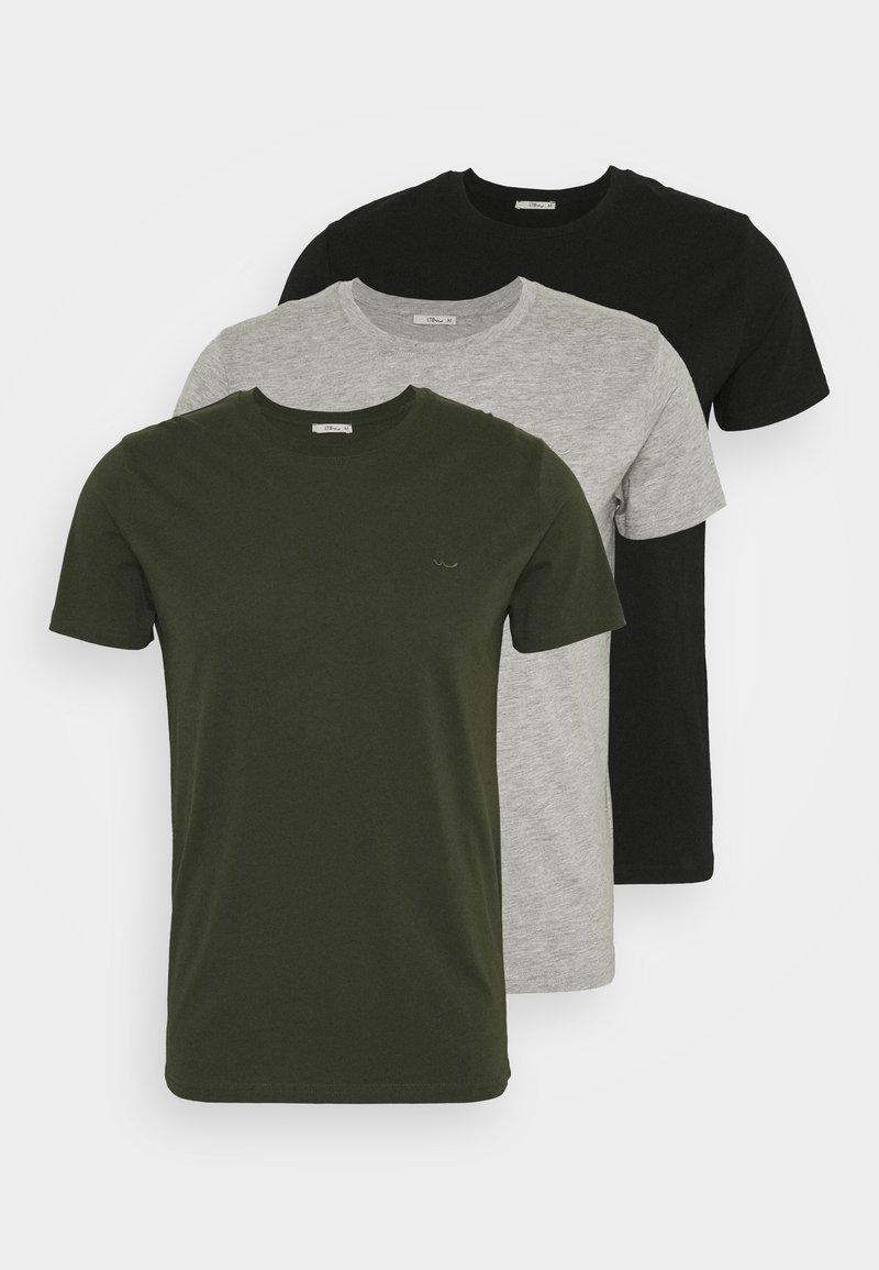 LTB - 3 Pack - Basic T-shirt - black/ olive/ grey melange