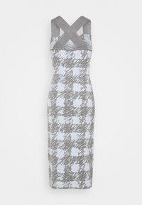 Proenza Schouler White Label - GINGHAM JACQUARD KNIT DRESS - Jumper dress - grey melange/sky - 10