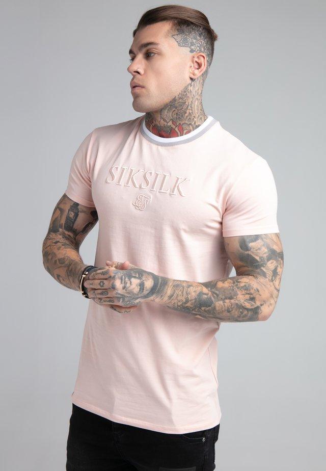 RIB COLLAR GYM TEE - T-shirt imprimé - pastel pink