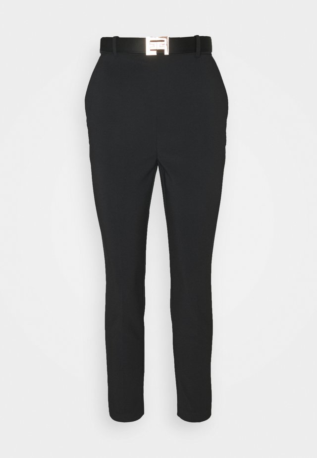 PANTS WITH BELT - Pantalones - black
