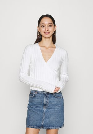 CROP WRAP FRONT - Pullover - white