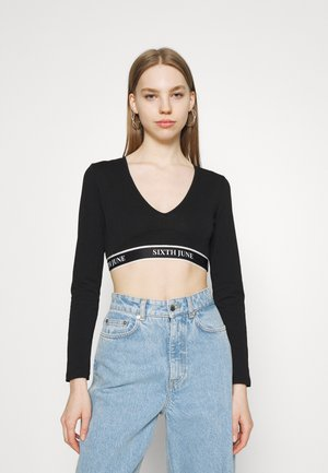 NEW BANDS CROP WITH SLEEVE - Long sleeved top - black