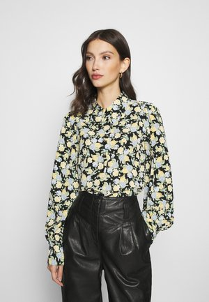 NALA BLOUSE - Button-down blouse - black dark unique