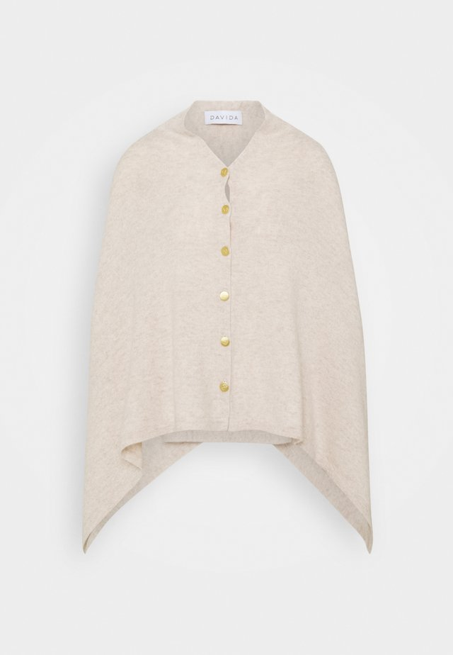 PONCHO WITH BUTTONS - Poncho - light beige