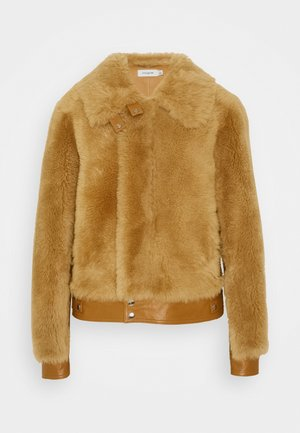 SHEARLING JACKET - Leather jacket - caramel