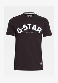 G-Star - FELT APPLIQUE LOGO SLIM ROUND SHORT SLEEVE - Camiseta estampada - dk black - 0