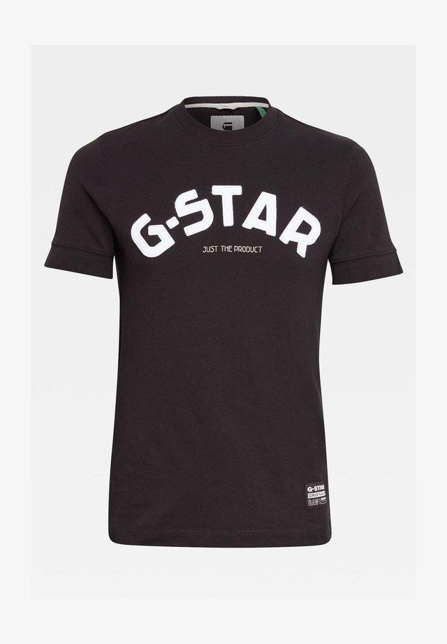 FELT APPLIQUE LOGO SLIM ROUND SHORT SLEEVE - Camiseta estampada - dk black