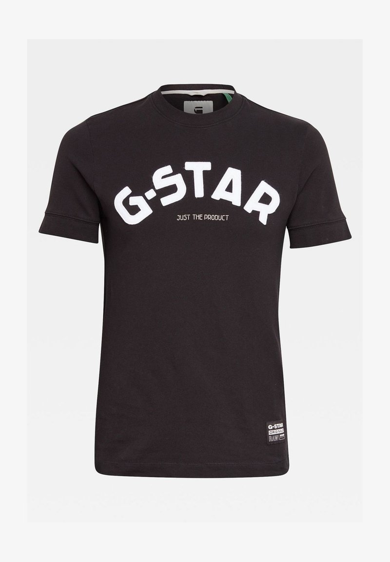 G-Star - FELT APPLIQUE LOGO SLIM ROUND SHORT SLEEVE - Camiseta estampada - dk black